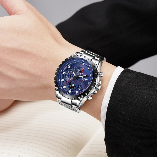LIGE Fashion Sport Men Watches 3ATM Water-resistant Quartz Watch Luminous Man Wristwatch Male Relogio Musculino ChronographApparel &amp; Jewelry<br>LIGE Fashion Sport Men Watches 3ATM Water-resistant Quartz Watch Luminous Man Wristwatch Male Relogio Musculino Chronograph<br>