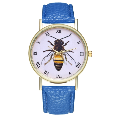 Vintage Honey Bee Insect Leather Watch for Women Men's