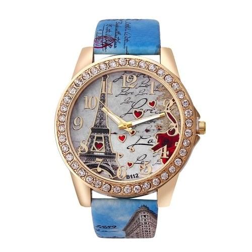 Relógio de pulso elegante clássico da torre Eiffel