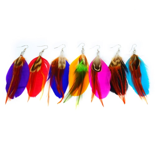 Women New Fashion Long Colorful Feather Cute Chandelier Dangle Earring Eardrop Jewelry Accessory GiftApparel &amp; Jewelry<br>Women New Fashion Long Colorful Feather Cute Chandelier Dangle Earring Eardrop Jewelry Accessory Gift<br>