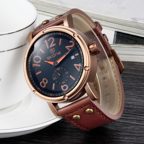 SKONE New Fashion Luxury PU Leather Quartz Analog Men Watches 30M Water-Proof Big Dial Cool Casual Wristwatch for Man Masculino ReApparel &amp; Jewelry<br>SKONE New Fashion Luxury PU Leather Quartz Analog Men Watches 30M Water-Proof Big Dial Cool Casual Wristwatch for Man Masculino Re<br>