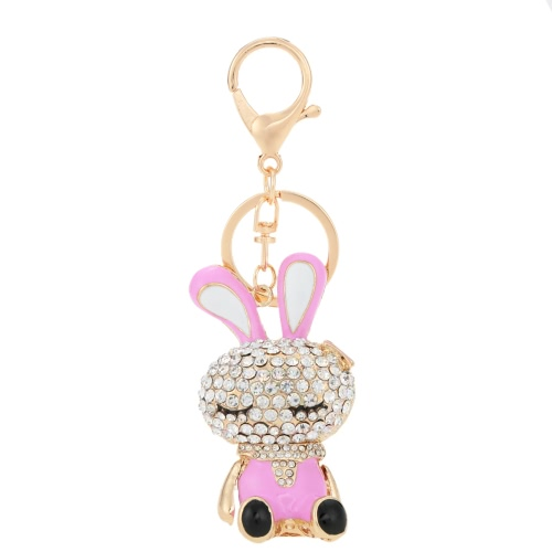 Lovely Rhinestone Crystal Rabbit Bunny Animal Charm Pendant Car Key Chain Keyring for Bag Purse GiftApparel &amp; Jewelry<br>Lovely Rhinestone Crystal Rabbit Bunny Animal Charm Pendant Car Key Chain Keyring for Bag Purse Gift<br>