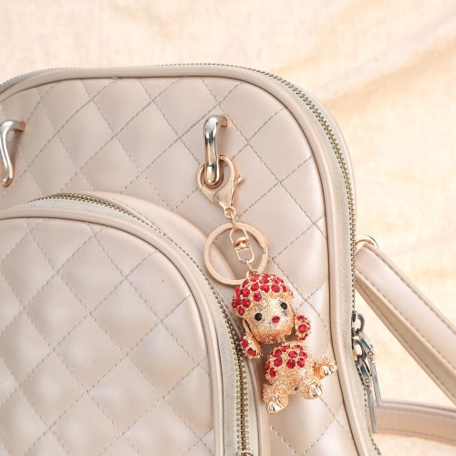 Cute Fashion Crystal Rhinestone Animal Lucky Poodle Dog Pendant Key Ring 18K Gold Electroplated Puppy Key Chain Purse Handbag CharApparel &amp; Jewelry<br>Cute Fashion Crystal Rhinestone Animal Lucky Poodle Dog Pendant Key Ring 18K Gold Electroplated Puppy Key Chain Purse Handbag Char<br>