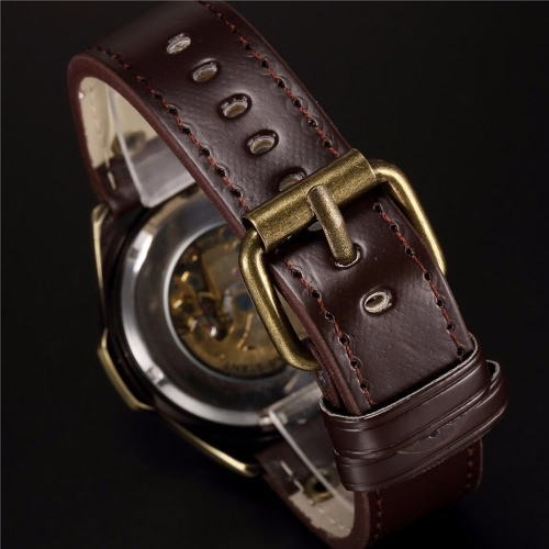 SHENHUA Mens Retro Vintage Bronze Case Comfortable PU Leather Band Automatic Skeleton Wristwatch Excellent Skeleton Casual SteampApparel &amp; Jewelry<br>SHENHUA Mens Retro Vintage Bronze Case Comfortable PU Leather Band Automatic Skeleton Wristwatch Excellent Skeleton Casual Steamp<br>