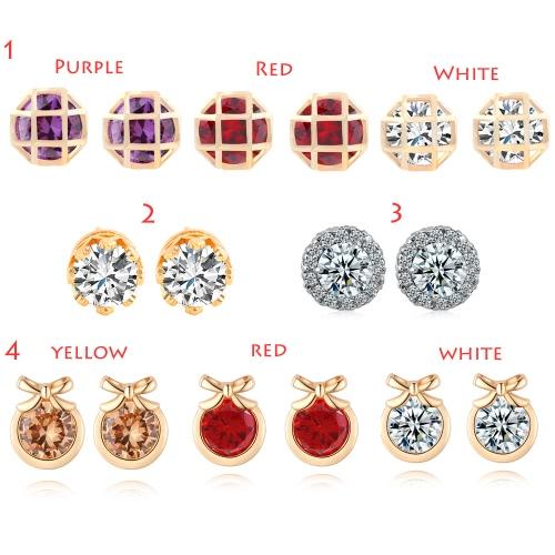 Fashion Charm Zircon Crystal Rhinestone Gold Plated Metal Copper Ear Stud Earring Jewelry for WomenApparel &amp; Jewelry<br>Fashion Charm Zircon Crystal Rhinestone Gold Plated Metal Copper Ear Stud Earring Jewelry for Women<br>