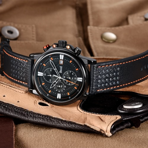 Bolisi Fashion Casual Quartz Watch 3ATM Water-resistant Men Watches Genuine Leather Wristwatch Calendar TimerApparel &amp; Jewelry<br>Bolisi Fashion Casual Quartz Watch 3ATM Water-resistant Men Watches Genuine Leather Wristwatch Calendar Timer<br>
