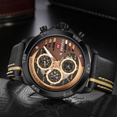 NAVIFORCE Fashion Casual Quartz Watch 3ATM Water-resistant Men Watches Luminous Genuine Leather Wristwatch Male CalendarApparel &amp; Jewelry<br>NAVIFORCE Fashion Casual Quartz Watch 3ATM Water-resistant Men Watches Luminous Genuine Leather Wristwatch Male Calendar<br>