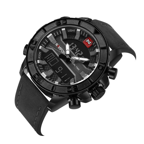 NAVIFORCE Sport Quartz Watch 3ATM Water-resistant Digital Watch Luminous Genuine Leather Men Wristwatches Male CalendarApparel &amp; Jewelry<br>NAVIFORCE Sport Quartz Watch 3ATM Water-resistant Digital Watch Luminous Genuine Leather Men Wristwatches Male Calendar<br>