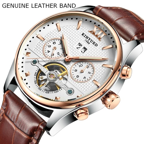 KINYUED Business Watch 3ATM Water-resistant Automatic Mechanical Men Watches Luminous Genuine Leather Wristwatch MaleApparel &amp; Jewelry<br>KINYUED Business Watch 3ATM Water-resistant Automatic Mechanical Men Watches Luminous Genuine Leather Wristwatch Male<br>