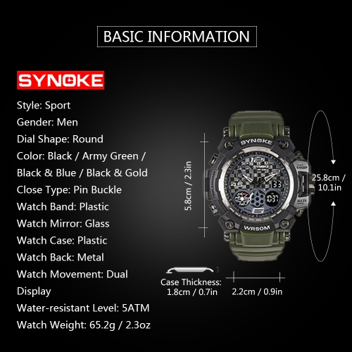 SYNOKE Digital Sport Watch 5ATM Water-resistant Men Watches Backlight Dual Display Wristwatch MaleApparel &amp; Jewelry<br>SYNOKE Digital Sport Watch 5ATM Water-resistant Men Watches Backlight Dual Display Wristwatch Male<br>