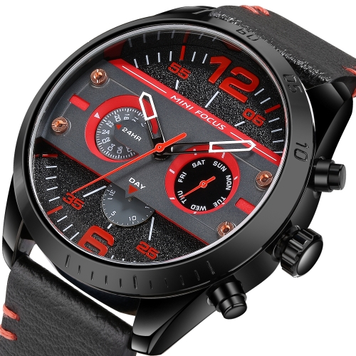 MINI Focus Fashion 3ATM Water-Proof Quartz Men Watch Genuine Leather Sports Military Style Chronograph Man Casual Wristwatch + BoxApparel &amp; Jewelry<br>MINI Focus Fashion 3ATM Water-Proof Quartz Men Watch Genuine Leather Sports Military Style Chronograph Man Casual Wristwatch + Box<br>