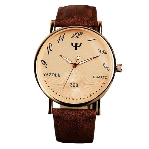 Reloj de pulsera de cuarzo YAZOLE 328 reloj de pulsera de cuero pu puntero luminoso de negocios estilo simple hombre