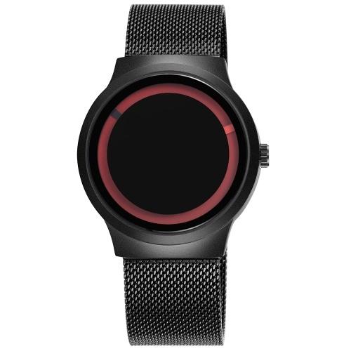 SKONE 7431シンプルメンズウォッチスチールメッシュストラップクォーツムーブメントウォッチ防水カジュアル時計腕時計男性用