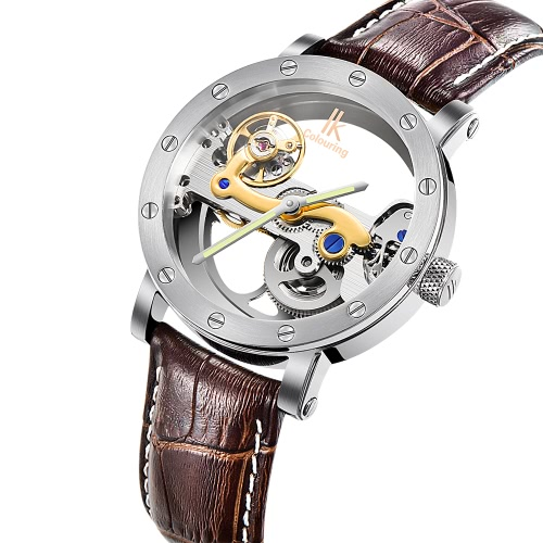 IK COLOURING Man Luxury Self-Winding Automatic Mechanical Watch 5ATM Water Resistant Genuine Leather Stainless Steel Skeleton WatcApparel &amp; Jewelry<br>IK COLOURING Man Luxury Self-Winding Automatic Mechanical Watch 5ATM Water Resistant Genuine Leather Stainless Steel Skeleton Watc<br>