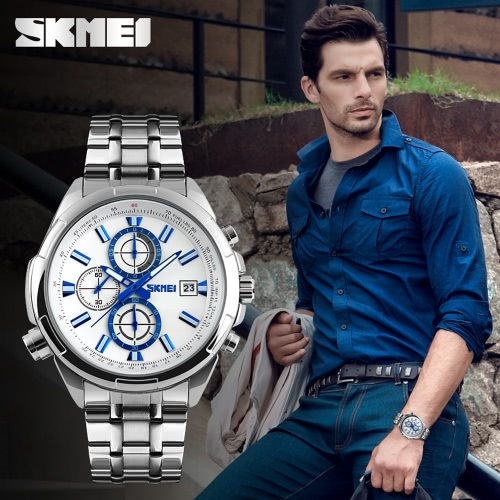 SKMEI 3ATM Water Resistant Analog Men Business Watch with 3 Sub-dial Durable Stainless Steel Watchband Good Looking Wrist WatchApparel &amp; Jewelry<br>SKMEI 3ATM Water Resistant Analog Men Business Watch with 3 Sub-dial Durable Stainless Steel Watchband Good Looking Wrist Watch<br>