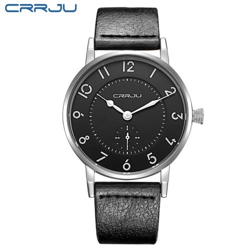 CRRJU Genuine Leather Strap 3ATM Daily Water Resistant Men Analog Watch Simple Wristwatch with Arabic Numeral Hour MarkerApparel &amp; Jewelry<br>CRRJU Genuine Leather Strap 3ATM Daily Water Resistant Men Analog Watch Simple Wristwatch with Arabic Numeral Hour Marker<br>