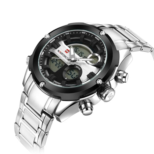 NAVIFORCE Dual-time Digital Sports Military Watch 3ATM Water Resistant Durable Stainless Steel Man Quartz-Digital Wristwatch withApparel &amp; Jewelry<br>NAVIFORCE Dual-time Digital Sports Military Watch 3ATM Water Resistant Durable Stainless Steel Man Quartz-Digital Wristwatch with<br>