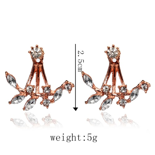 Fashion Plated Leaves Clear Crystal Ear Studs Earrings for Women Delicate Jewelry AccessoryApparel &amp; Jewelry<br>Fashion Plated Leaves Clear Crystal Ear Studs Earrings for Women Delicate Jewelry Accessory<br>