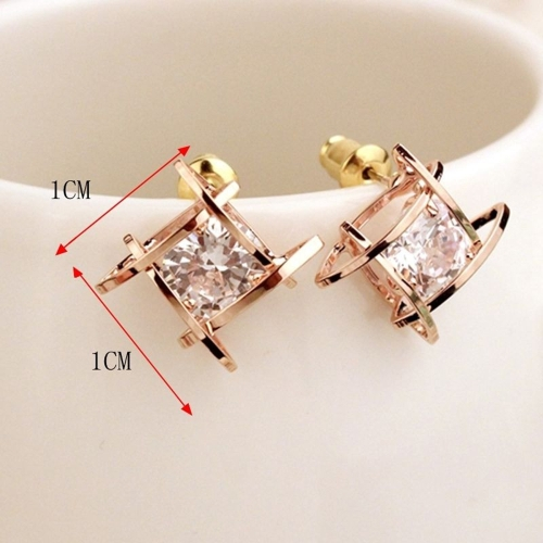 Fashion Unique Square Bright Zircon Crystal Ear Studs Alloy Earrings for Women Jewelry AccessoryApparel &amp; Jewelry<br>Fashion Unique Square Bright Zircon Crystal Ear Studs Alloy Earrings for Women Jewelry Accessory<br>
