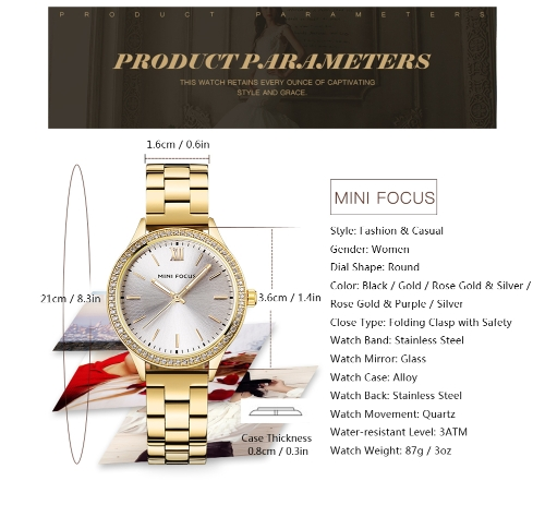 MINI FOCUS Fashion Luxury Stainless Steel Women Watches Quartz 3ATM Water-resistant Luminous Casual Woman WristwatchApparel &amp; Jewelry<br>MINI FOCUS Fashion Luxury Stainless Steel Women Watches Quartz 3ATM Water-resistant Luminous Casual Woman Wristwatch<br>