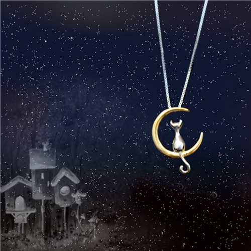 Cute Fine Cat Moon Pendant Necklace Lovely Leisure Chain Necklace Women Jewelry Gift Fashion AccessoryApparel &amp; Jewelry<br>Cute Fine Cat Moon Pendant Necklace Lovely Leisure Chain Necklace Women Jewelry Gift Fashion Accessory<br>