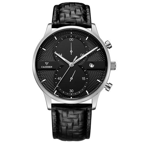 Cadisen reloj hombres deporte cronógrafo reloj de cuarzo reloj de pulsera de negocios a prueba de agua hombres