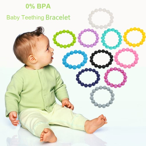 100% Food Grade Silicone Teething Teether Loop Bracelet Bangle Soft Beads for Chew Baby Nursing Jewelry Toy BPA FreeApparel &amp; Jewelry<br>100% Food Grade Silicone Teething Teether Loop Bracelet Bangle Soft Beads for Chew Baby Nursing Jewelry Toy BPA Free<br>