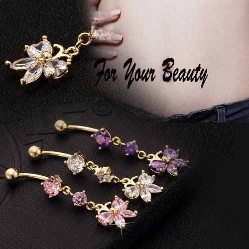 Hot Fashion Sexy Copper Butterfly Rhinestone Crystal Navel Belly Button Ring Nail Piercing Body Jewelry for Women Girls GiftApparel &amp; Jewelry<br>Hot Fashion Sexy Copper Butterfly Rhinestone Crystal Navel Belly Button Ring Nail Piercing Body Jewelry for Women Girls Gift<br>