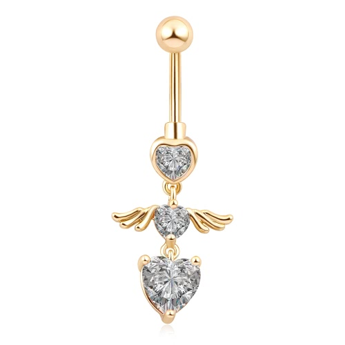 Summer Fashion Popular Women Girl Gold-plated Three-heart-shaped With Angels Wings Navel Button Nail Body PiercingApparel &amp; Jewelry<br>Summer Fashion Popular Women Girl Gold-plated Three-heart-shaped With Angels Wings Navel Button Nail Body Piercing<br>