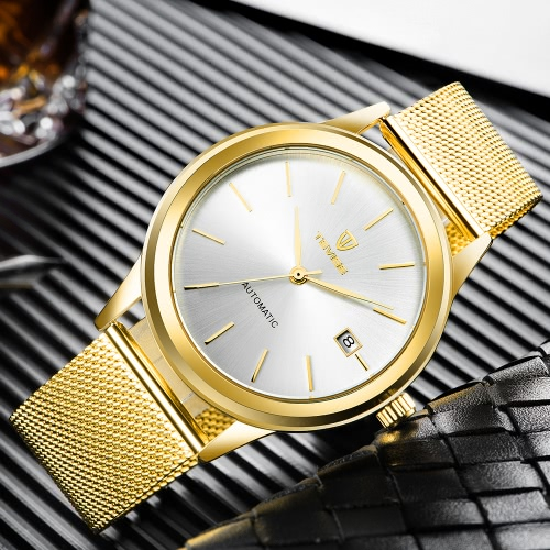 TEVISE Brand Luxury Gold Automatic Mechanical Men Watch Water-Proof Mesh Stainless Steel Band Self-Winding Man Casual Wristwatch +Apparel &amp; Jewelry<br>TEVISE Brand Luxury Gold Automatic Mechanical Men Watch Water-Proof Mesh Stainless Steel Band Self-Winding Man Casual Wristwatch +<br>