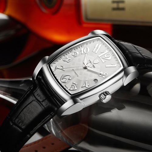 TEVISE Vintage Luminous Automatic Mechanical Men Watch Water-Proof Self-Wind Man Business Wristwatch Genuine Leather Calendar + BoApparel &amp; Jewelry<br>TEVISE Vintage Luminous Automatic Mechanical Men Watch Water-Proof Self-Wind Man Business Wristwatch Genuine Leather Calendar + Bo<br>