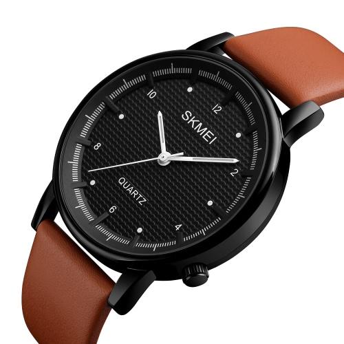 SKMEI 3ATM Water-resistant Fashion Casual Watch Men Quartz Watch Genuine Leather Wristwatch MaleApparel &amp; Jewelry<br>SKMEI 3ATM Water-resistant Fashion Casual Watch Men Quartz Watch Genuine Leather Wristwatch Male<br>