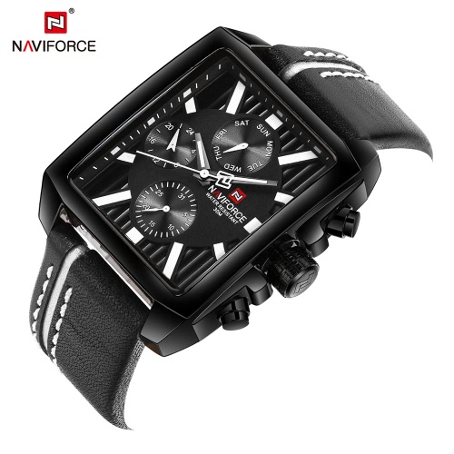 NAVIFORCE Luxury Genuine Leather Quartz Men Watch Square Dial 3ATM Water-Proof Man Casual Wristwatch with Sub-dials + BoxApparel &amp; Jewelry<br>NAVIFORCE Luxury Genuine Leather Quartz Men Watch Square Dial 3ATM Water-Proof Man Casual Wristwatch with Sub-dials + Box<br>
