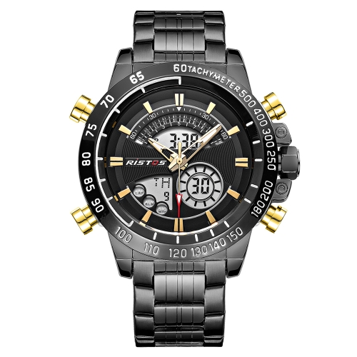 RISTOS Dual Display Quartz Digital Men Watch Water-Proof EL Men Sports Military Watch Stainless Steel Band Alarm Hourly Chime ChroApparel &amp; Jewelry<br>RISTOS Dual Display Quartz Digital Men Watch Water-Proof EL Men Sports Military Watch Stainless Steel Band Alarm Hourly Chime Chro<br>