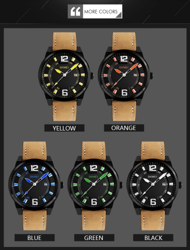 SKMEI Fashion Casual Quartz Watch 3ATM Water-resistant Men Watch Genuine Leather Wristwatch Male CalendarApparel &amp; Jewelry<br>SKMEI Fashion Casual Quartz Watch 3ATM Water-resistant Men Watch Genuine Leather Wristwatch Male Calendar<br>