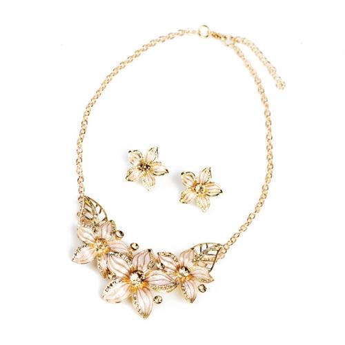 Fashion Jewelry Set Flowers Drop Diamond Short Necklace Earrings Women Party AccessoryApparel &amp; Jewelry<br>Fashion Jewelry Set Flowers Drop Diamond Short Necklace Earrings Women Party Accessory<br>