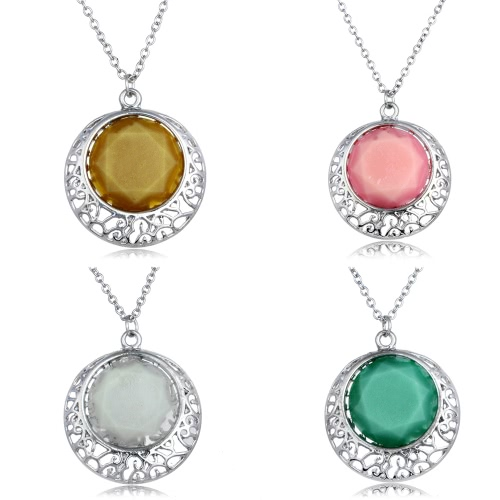 Brass Metal Alloy Collar Necklace Luminous Night Glowing Shiny Color Round Pendant with Hollow Frame Lobster Clasp 18in Chain PoliApparel &amp; Jewelry<br>Brass Metal Alloy Collar Necklace Luminous Night Glowing Shiny Color Round Pendant with Hollow Frame Lobster Clasp 18in Chain Poli<br>