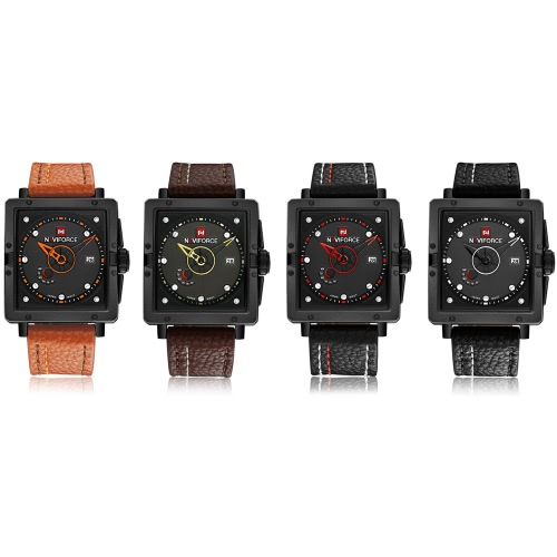 NAVIFORCE Eye-catching Fashion Square Dial Analog Wristwatch with Box Water Resistant Casual Quartz Men Watch with CalendarApparel &amp; Jewelry<br>NAVIFORCE Eye-catching Fashion Square Dial Analog Wristwatch with Box Water Resistant Casual Quartz Men Watch with Calendar<br>