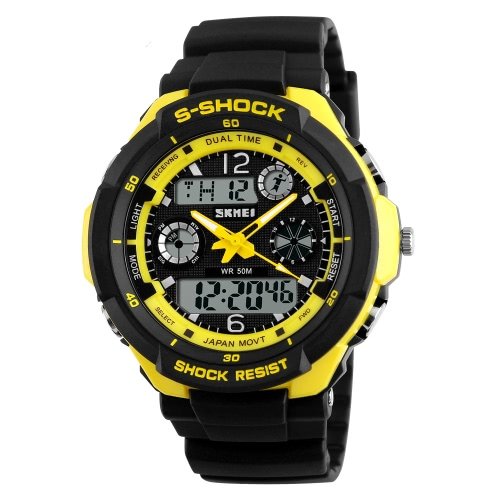 SKMEI 5ATM Water Resistant Dual Time Fashion Men LCD Digital Stopwatch Chronograph Date Alarm Casual Sports Wrist Watch 2 Time ZonApparel &amp; Jewelry<br>SKMEI 5ATM Water Resistant Dual Time Fashion Men LCD Digital Stopwatch Chronograph Date Alarm Casual Sports Wrist Watch 2 Time Zon<br>