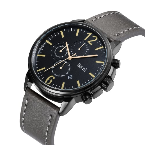 Bolisi Fashion Casual Quartz Watch 3ATM Water-resistant Men Watch Genuine Leather Wristwatch Male Calendar TimerApparel &amp; Jewelry<br>Bolisi Fashion Casual Quartz Watch 3ATM Water-resistant Men Watch Genuine Leather Wristwatch Male Calendar Timer<br>