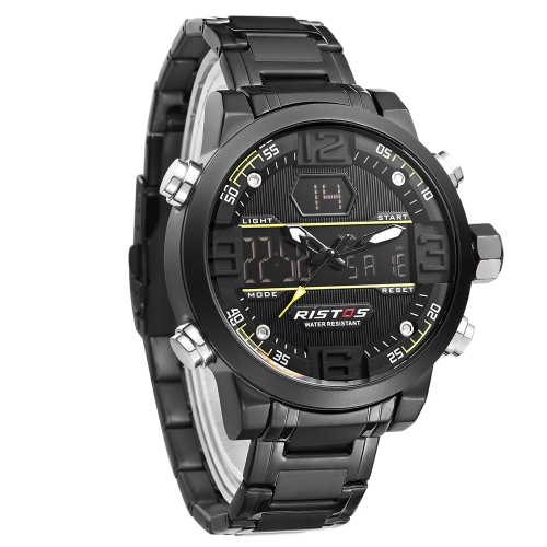 RISTOS Dual Display Quartz Digital Men Watch Water-Proof EL Sports Military Watch Stainless Steel Band Chrono Alarm Hourly Chime DApparel &amp; Jewelry<br>RISTOS Dual Display Quartz Digital Men Watch Water-Proof EL Sports Military Watch Stainless Steel Band Chrono Alarm Hourly Chime D<br>