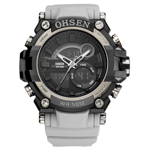 OHSEN Dual Display Digital Quartz Men Watch 5ATM Water-Proof Sports Watch Rubber Band Chronograph/Backlight/Alarm Masculino RelogiApparel &amp; Jewelry<br>OHSEN Dual Display Digital Quartz Men Watch 5ATM Water-Proof Sports Watch Rubber Band Chronograph/Backlight/Alarm Masculino Relogi<br>