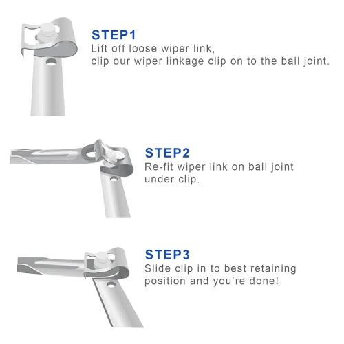 Pair of Windscreen Wiper Motor Linkage Rods Arms Link Mechanism Repair Clip KitCar Accessories<br>Pair of Windscreen Wiper Motor Linkage Rods Arms Link Mechanism Repair Clip Kit<br>