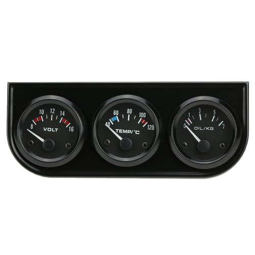 52mm Electronic Triple Gauge Kit Oil Pressure Water Temperature Gauge Voltmeter 3 in 1 Car Motorcycle Meter