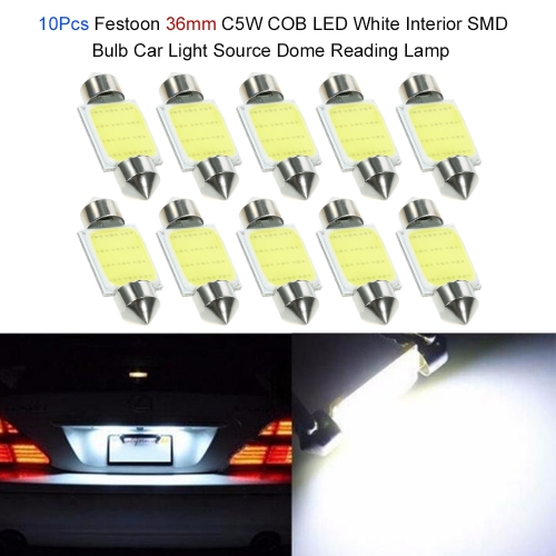 10Pcs Festoon 36/39/41mm C5W  COB LED White Interior SMD Bulb Car Light Source Dome Reading Lamp