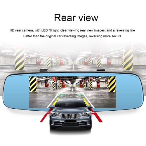 Junsun Car DVR Camera Video Recorder Rearview Mirror GPS Navigation Two Cameras Dash Cam with 7.86 inch Touch Super Screen Display Phone APP Remote Monitor 16G with Europe Maps