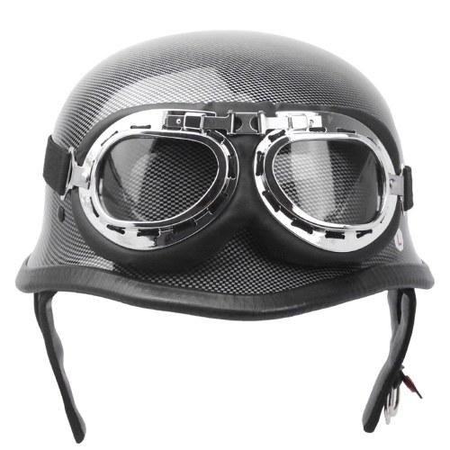 German Style Vintage Motorcycle Helmet Carbon Fiber Style Half Open Face Helmet