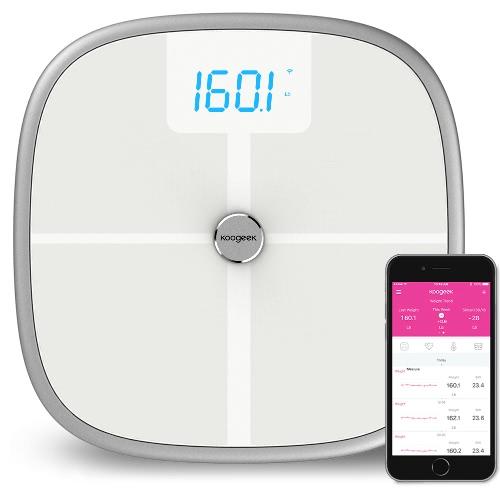 Koogeek aprobado por la FDA inteligente Salud Escala BT Wi-Fi Sync Medidas del músculo de la masa ósea IMC BMR y la grasa visceral de grasa corporal Peso Agua 16 Usuarios Reconocimiento 330lb / 150kg Capacidad de peso