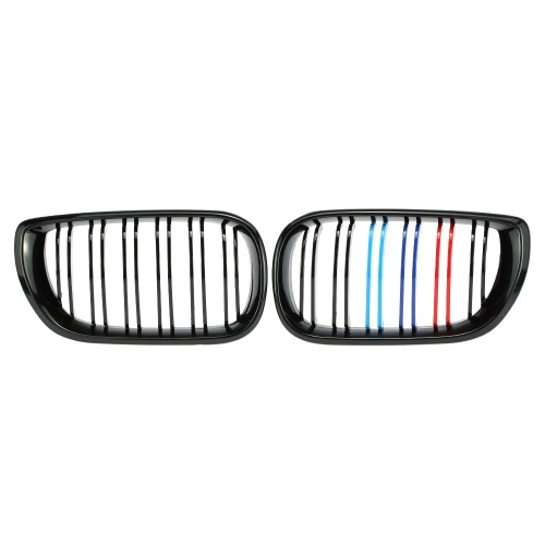 One Pair of Gloss Black M-color Car Front Grille Grilles for BMW E46 4 Door 2002-2006