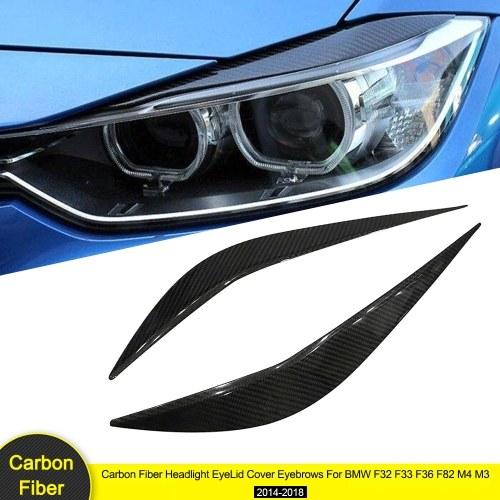 Carbon Fiber Headlight EyeLid Cover Eyebrows For BMW F32 F33 F36 F82 M4 M3 2014-2018,1 Pair